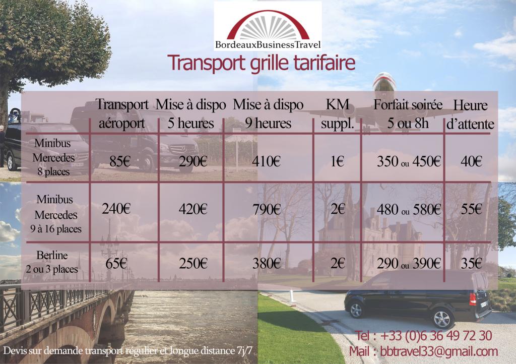 grille tarifaire transport